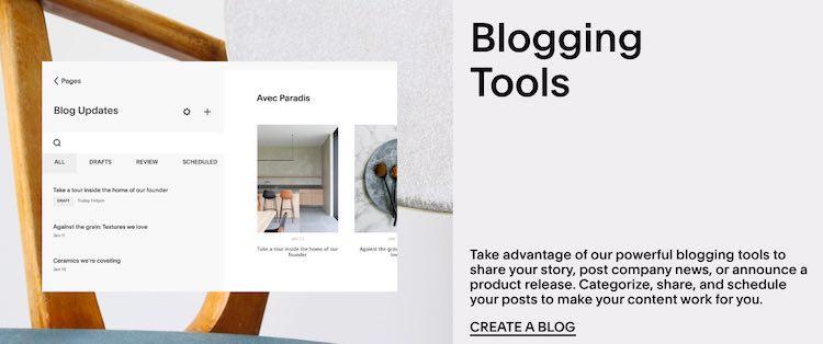 Narzędzia do blogowania Squarespace
