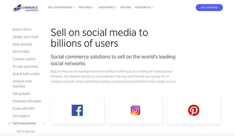 BigCommerce Integracja z mediami społecznościowymi