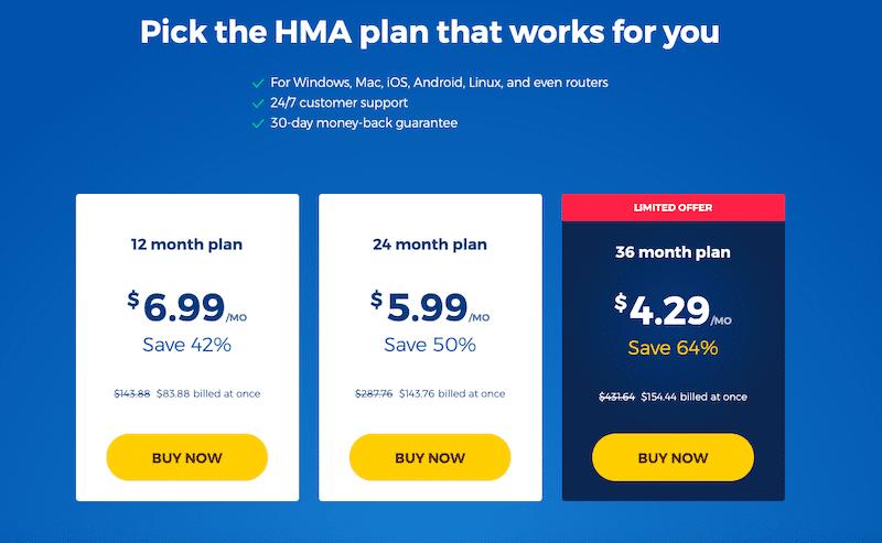 Ceny HMA VPN