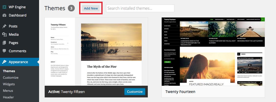 Dodaj nowy motyw WordPress