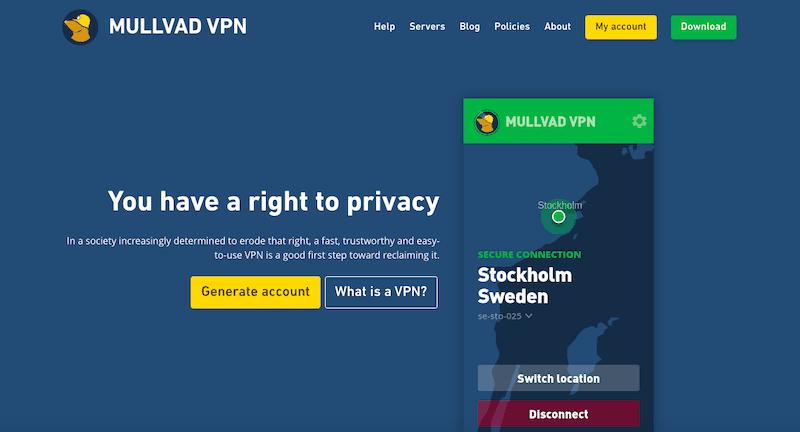 Najlepsze usługi VPN 2019: Mullvad VPN