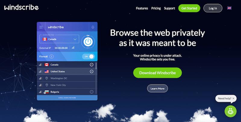 Najlepsze usługi VPN 2019: Windscribe
