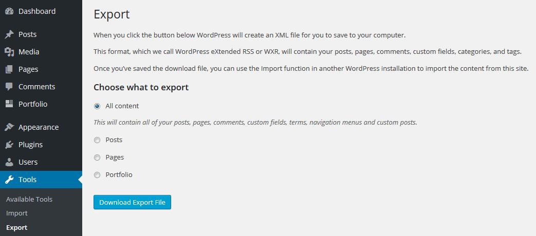 Narzędzie do eksportu WordPress