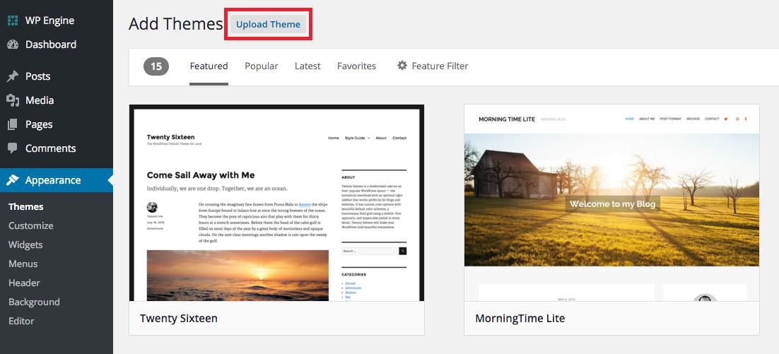 Przesyłanie motywu WordPress