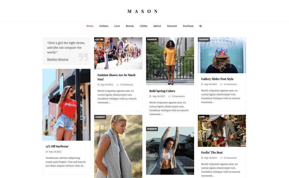 Total Multipurpose & Blogging WordPress Theme: Mason Demo