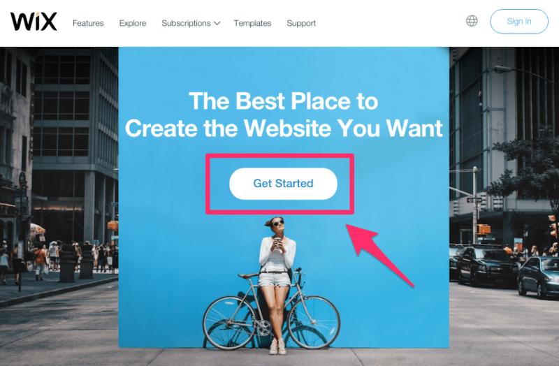 Utwórz przycisk Rozpocznij witrynę internetową Wix