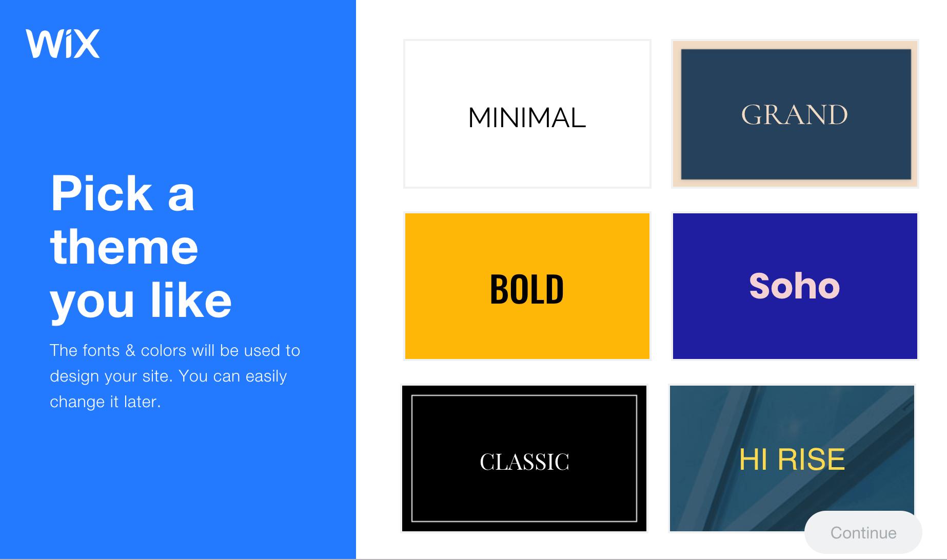 Wix wybierz styl swojej witryny