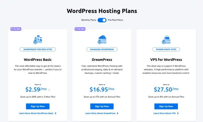 Cennik DreamHost dla najlepszego hostingu WordPress