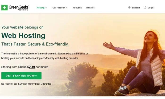 Strona główna GreenGeeks dla najlepszego taniego hostingu