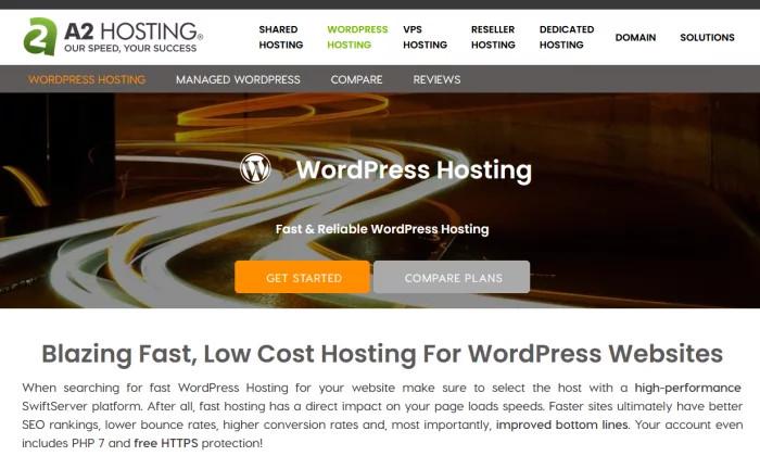 Strona powitalna A2 Hosting dla najlepszego hostingu WordPress